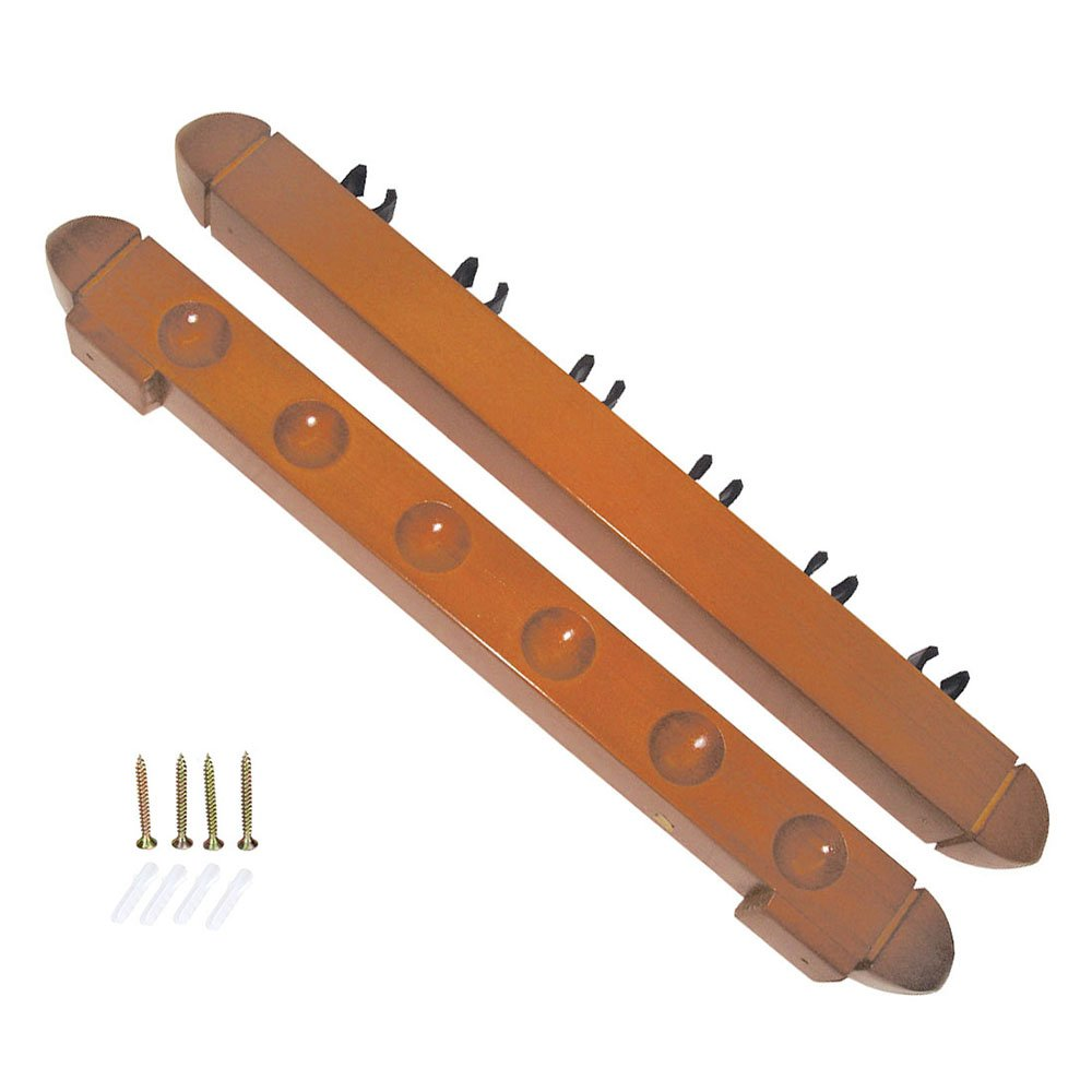 Cue Rack- Wood with Plastic clips 1